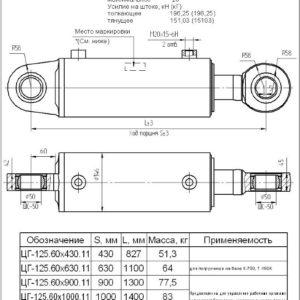 Гидроцилиндр ГЦ 125.60х710.11, ГЦ.125.63.710.260.00